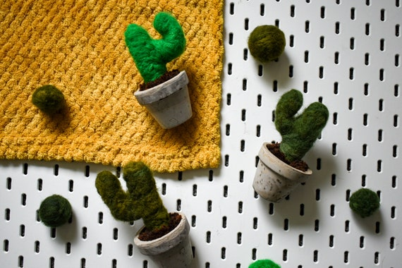 Handmade Felted Saguaros - Hand Dyed Greens - Concrete Pot