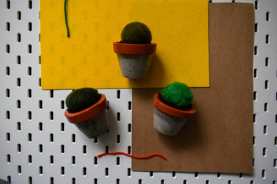 Medium Felted Barrel Cactus - Hand Dyed - Amber Concrete Pot