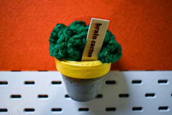 Large Crochet Brain Cactus/Succulent - Bright/Dark/Olive Green - Yellow Concrete Pot
