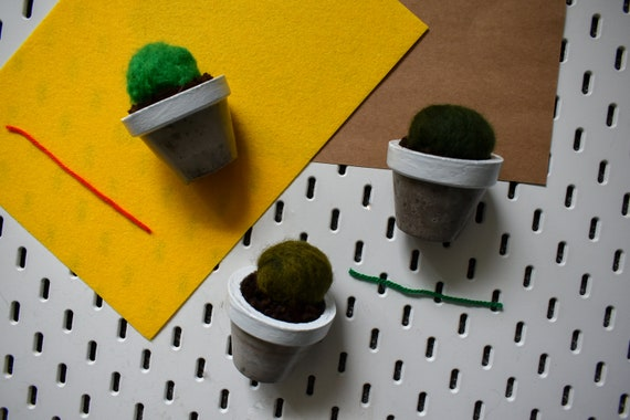 Medium Felted Barrel Cactus - Hand Dyed - White Concrete Pot
