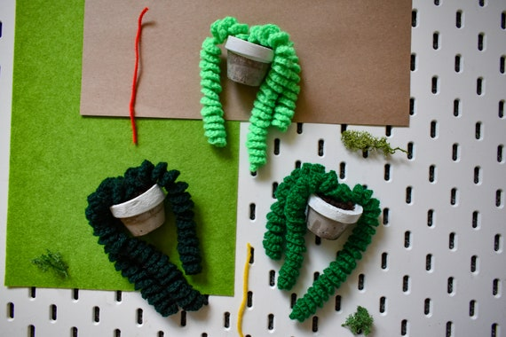 Handmade Crochet Succulent Plant - Twirly/Pig Tail - White Concrete Pot