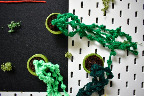 Handmade Crochet Succulent Plant - String of Pearls - Green Concrete Pot