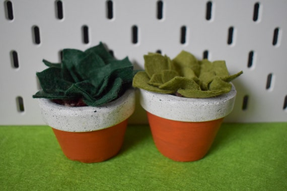 Large Felt Succulent - Bright/Dark/Grass Green - Amber Jesmonite Pot