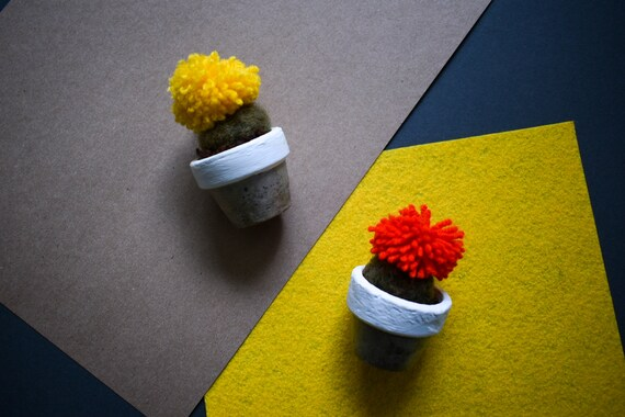 Tiny Felted Barrel Cactus - Hand Dyed - Coloured Pom - Concrete Pot