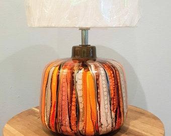 hand painted|Table Lamp|home decor|ceramic|housewarming gift|house gift|white|unique|sunshine|greys|autumn|Burnt orange|orange