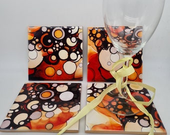 beach decor Ceramic coasters,Set of 4 Coasters,Hand Painted designs,Coffee Tea Coasters,Wine Coasters,Abstract,Housewarming Gift,Home Decor