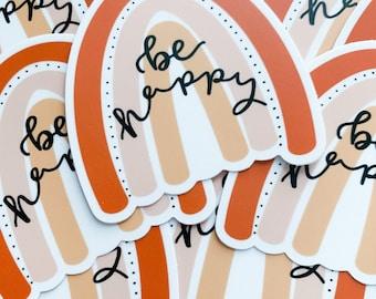 Be Happy Boho Rainbow Sticker