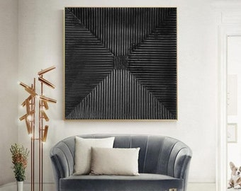 very black painting on canvas, original abstract painting, large canvas wall art, rich textured painting, contemporary wall art canvas A677