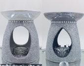 Light or Dark Grey Silver Glitter Pearl Iridescent Crushed Diamond Glass Diamanté Ceramic Oil Wax Warmer Burner