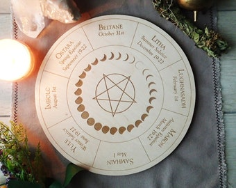 Southern hemisphere witch calendar board, Wheel of the Year altar decor.