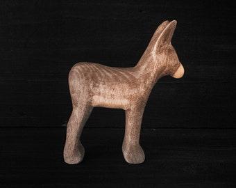 Wooden Donkey Foal Toy - Wooden Toy Donkey - Wooden Donkey Family - Wooden Baby Donkey
