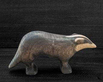 Wooden Toy Badger - Wooden Badger Figurine - Wooden Animal Figurine - Wooden Animal Toy - Woodland Animal - Forest Animal - Wooden Badger