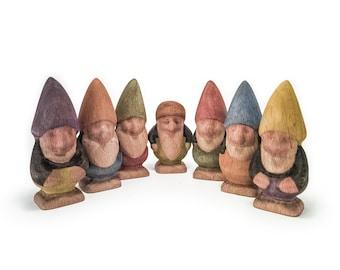 Wooden Dwarf Set - Seven Dwarfs - Wooden Gnomes - Wooden Tomte - Wooden Nisse