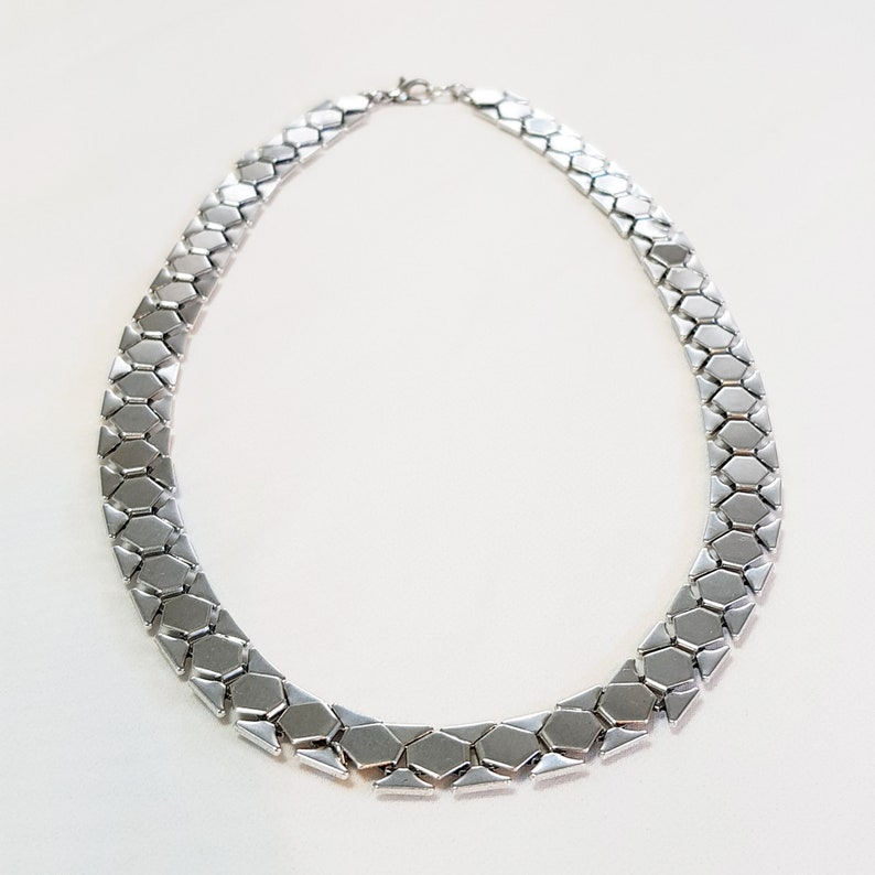 Flat silver curb chain Statement collar Bold curb chain light weight chain Curb chain Choker Silver thick necklace for women Punk chain