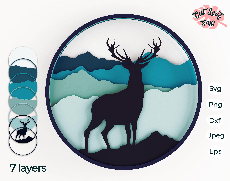 Download 3d Layered Deer Svg 3d Svg Laser Cut Files Cnc Files For Etsy