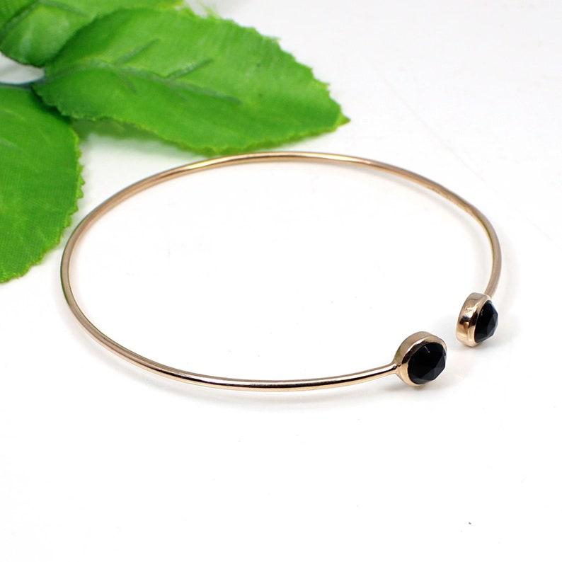 Black Stone Bangle -Stacking Bangle -Openable Bangle Black Onyx Adjustable Silver Bangle Rose Gold Plated Bangle Onyx Gemstone Jewelry