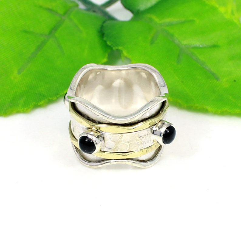 925 Silver Black Onyx Gemstone Two Tone Ring Gemstone Anxiety Ring Thumb Ring Gift Spinner Meditation Ring Ring Gift Spinner Ring
