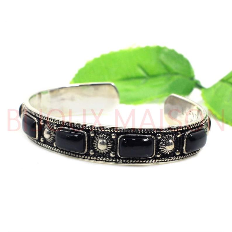 Silver Adjustable Cuff Bangle Bangle Jewelry 925 Silver Jewelry Unisex Bangle Sterling Silver Black Onyx Bangle Oxidised Bangle Jewelry