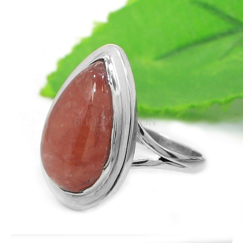 Gemstone Ring Silver Rhodochrosite Ring Jewelry Silver Gemstone Teardrop Solitaire Ring Split Band Ring Sterling Silver Ring for Women