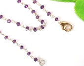 Purple Handmade Amethyst Beaded Necklace, 925 Silver Necklace Jewelry, 3 MM Stone, Wholesale Beaded Jewelry Available