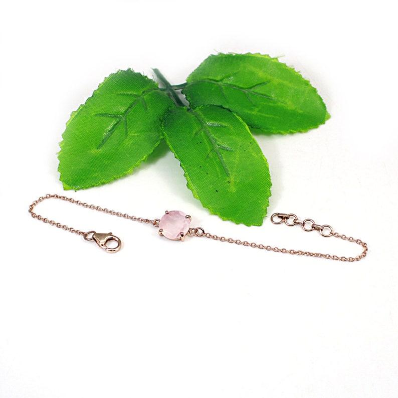 Rose Gold Plated Bracelet 925 Silver Rose Quartz Chain Bracelet Silver Wrist Bracelet For Girls Silver Adjustable Bracelet For Women