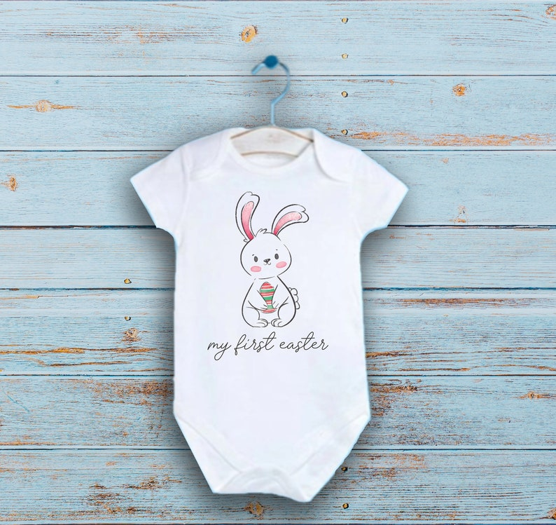 Easter Baby Bodysuit My first Easter Onesie\u00ae Custom Baby Shower Gift My first Easter Baby Clothes Personalized Bunny Baby Clothes