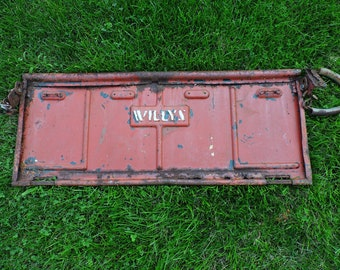 Willys Jeep Tailgate ~ Vintage 1948 Willys Tailgate ~ Automotive Wall Art ~ Rusty Cool Faded Paint Tailgate ~ Automotive History ~ Man Cave