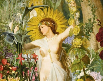 Digital, 1874 'Flora', Valentine Walter Bromley, Victorian era painting, Mythology, INSTANT DOWNLOAD, Three Sizes