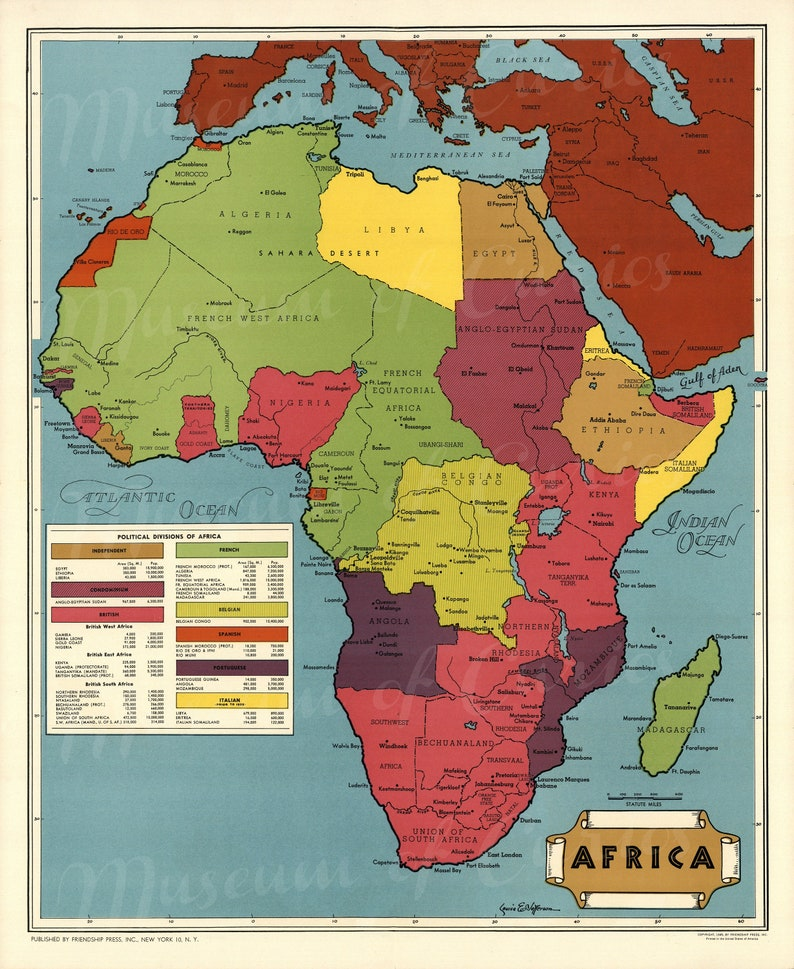 1945 Map of Africa Wall Map Poster Political Divisions image 0