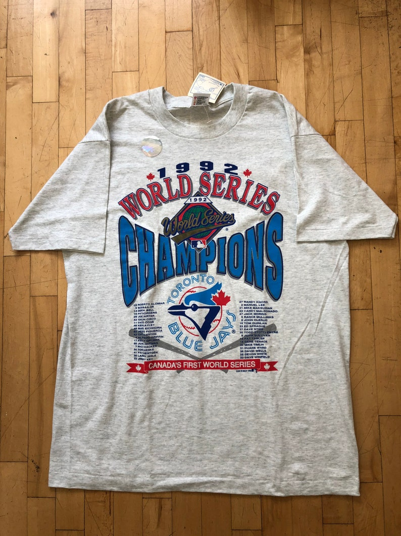 Made in canada Vintage Toronto blue jays World Series champions t shirt Single stitch Fruit of the loom