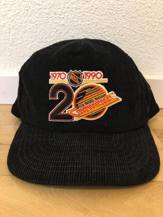 Vintage 1994 Vancouver Canucks black corduroy hat.