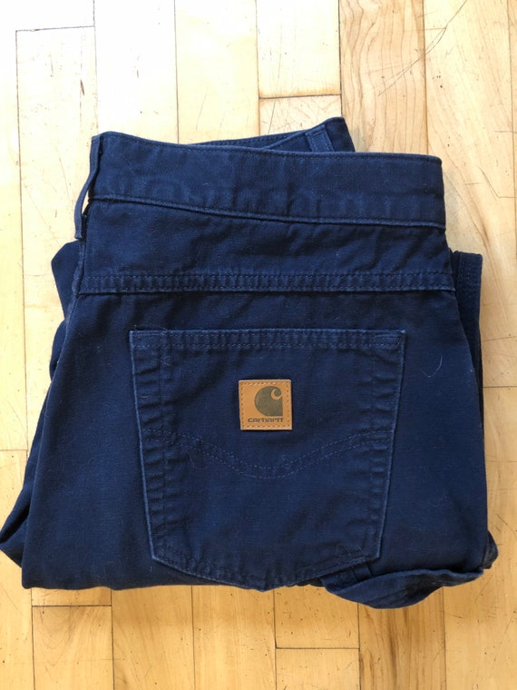 Carhartt work pants. Dungaree. Twill. Navy blue