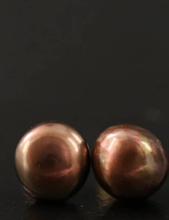 14k Semi-Baroque Pearl Stud Earrings