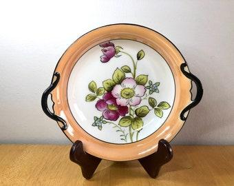 Vintage Noritake Lusterware Peach w Blue Butterflies Bowl 10\u201d Mid Century