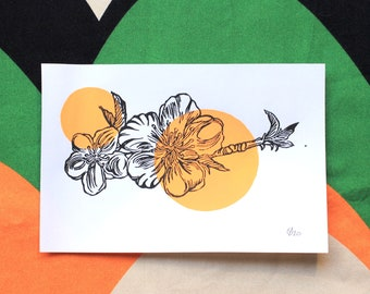 "February: APRICOT BLOSSOM, linocut print, 6x8"""