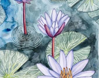 "Lotus Pond Watercolor Print, 9x12"""