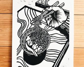 Linocut A3 Poster Linogravure Monochrome Print Tattoo Dragon  Fan