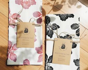 BAUHINIA, Block Printed Tea Towel