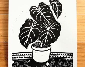"PHILODENDRON GLORIOSUM Linocut Print, 9x12"""