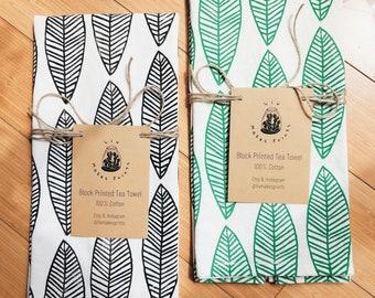 LEAFY, Block Printed Tea Towel