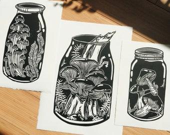 FORAGER'S JARS, Linocut prints