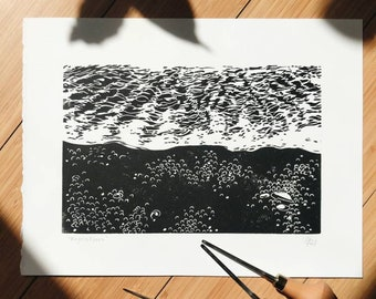 "Reynisfjara Linocut Print, 9x12"""