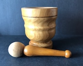 Vintage Mortar and Pestle Hand Turned Solid Wood Italy Herbs Medicines Pharmacy