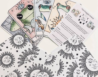 frog tarot cards, oracle card set, celestial, magic, reptile amphibian lover, gift, hand drawn