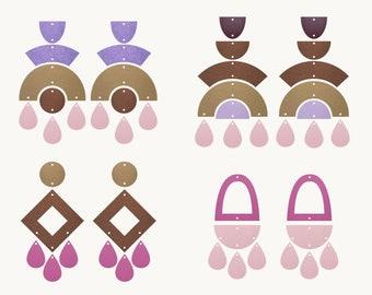 Earrings SVG | Rainbow earrings template SVG, Leather Earrings, Clay Earring Template, Silhouette Cut Files, Cricut Cut Files