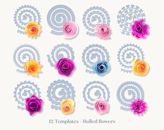 Rolled Flower SVG, 3D Flower Template, Rolled Paper Flower SVG, Paper Flowers Template Silhouette and Cricut Cut Files