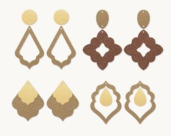 Bohemian Stacked Earrings SVG, Morocco Earrings SVG, Leather Earrings, Template Silhouette Cut Files, Cricut Cut Files Pendant DIY
