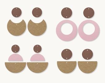 Earrings SVG | Three parts earrings template SVG, Leather Earrings, Clay Earring Template, Silhouette Cut Files, Cricut Cut Files