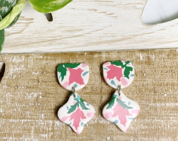 Moroccan Tile Drops Floral Tile Design Statement Earrings Pink Teal Green White Sky Blue