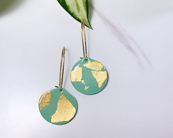 Teal w/ Gold Foil collection Statement Earrings Small  Dangles Hoop chic lightweight jewelry drop dainty elegant polymer clay Resin